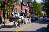 Horse-drawn Carriage making its way up Broadway Street